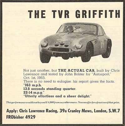TVR Advert using 9th October 1965 BFR 400B Photo